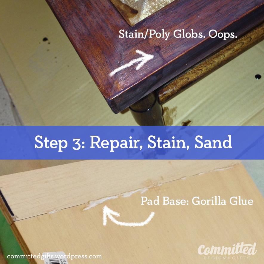 Repair, stain, sand.