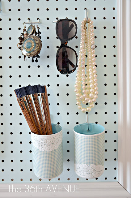 Pegboard accessory storage, DIY.