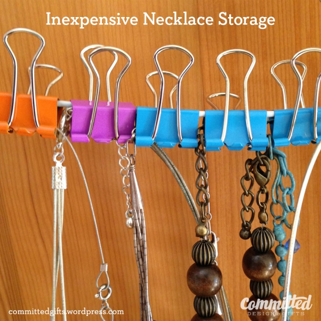 Binder clips for storing necklaces.