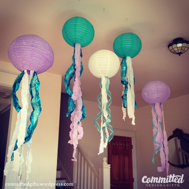 Paper lantern jellyfish for an Under the Sea party