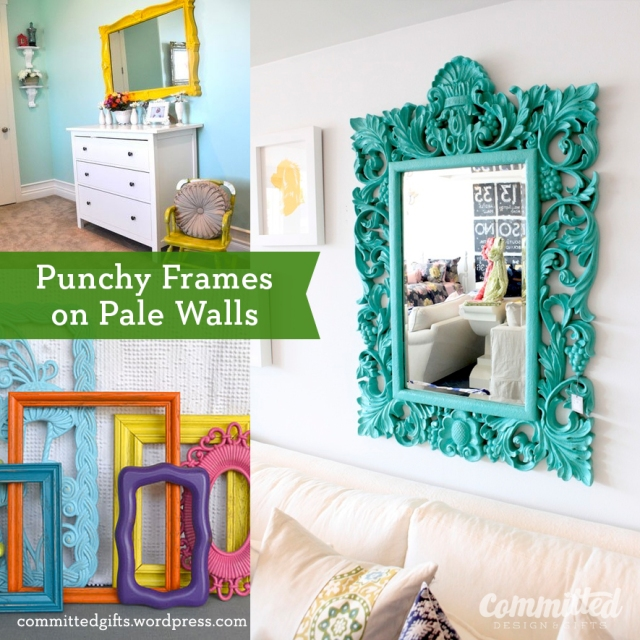 Painting ornate frames bright colors.